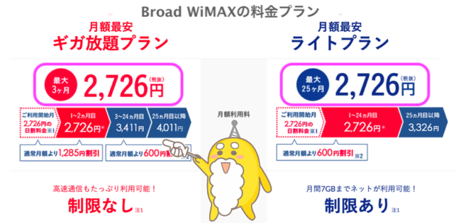 Broad WiMAXの料金プラン